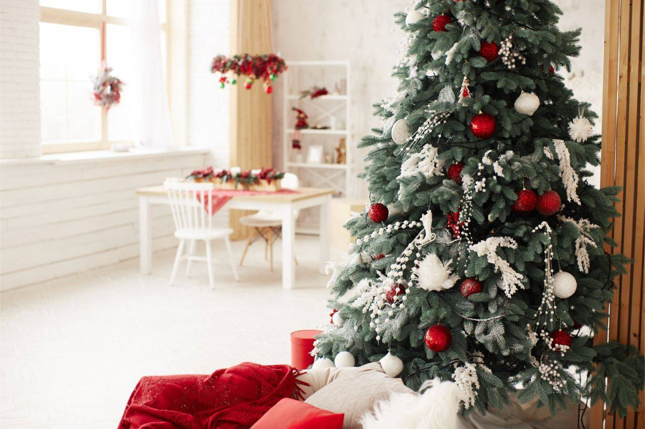 A decorated Christmas tree inside a living room
